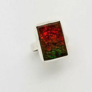 Genuine Ammolite Rectangular Ring Sz 7